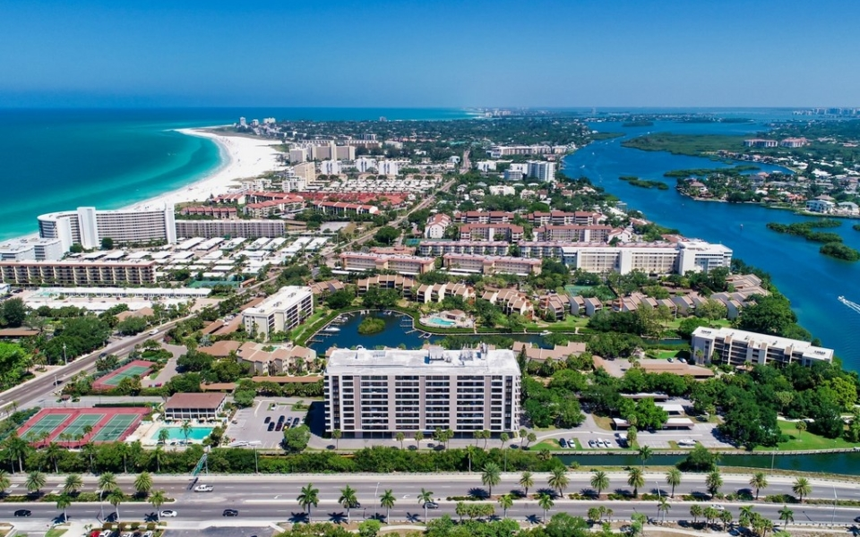 The Anchorage Yacht and Tennis Club at Siesta Key Arial View